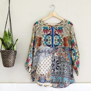 Johnny Was Silk Patchwork Button Blouse